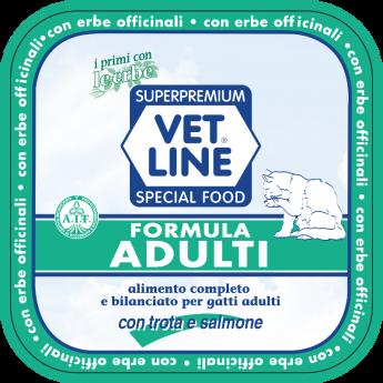 Alimento per gatti completo e bilanciato, con trota, salmone e erbe officinali per l'età adulta